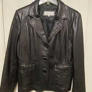 Calvin Klein black leather jacket - like new